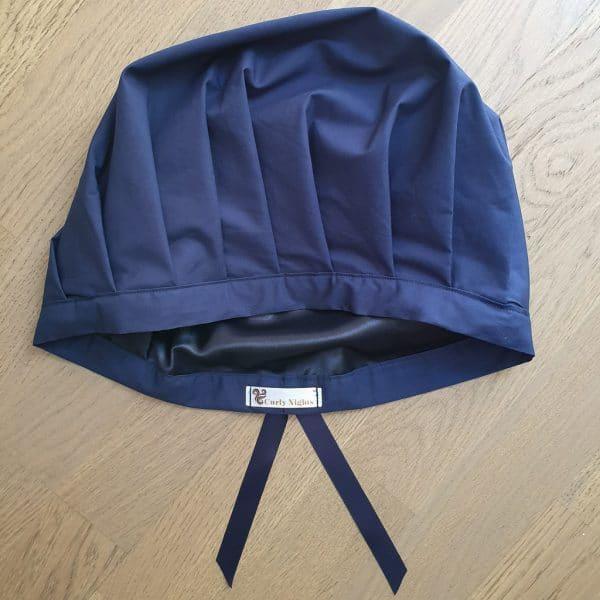Schlafhaube Bonnet Satin Marineblau Uni Curly Nights anpassbar