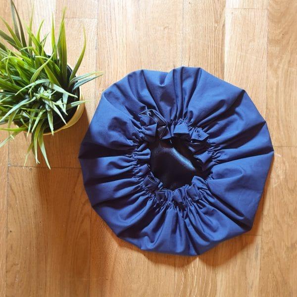 Schlafhaube curly nights marineblau satin elastisch bonnet night cap