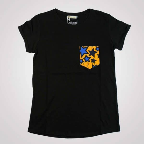 tshirt blanc girlfriend blue star poche en wax pyjama 100% coton