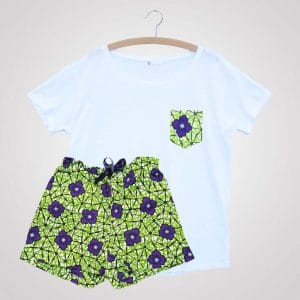 pyjama wax curly nights blue star short tshirt