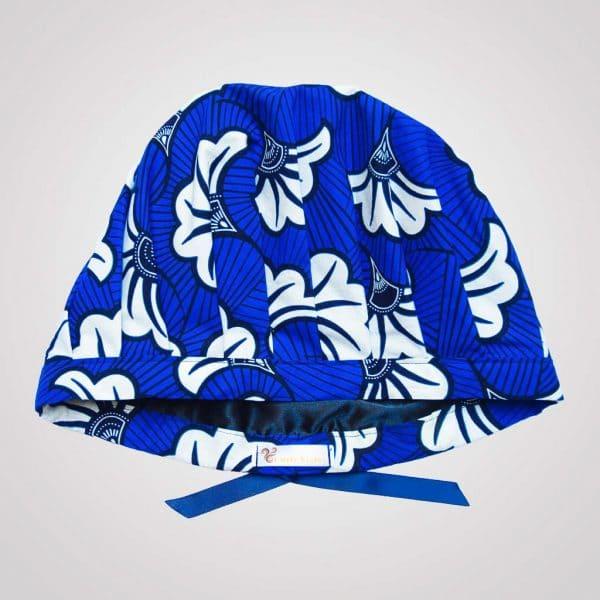 satin wax bonnet schlafhaube curly nights flora blue anpassbar premium
