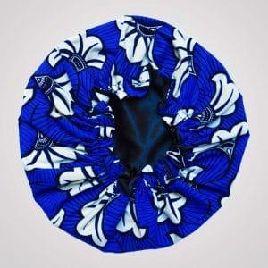 bonnet intérieur satin protecteur de boucles curly nights flora blue cheveux crépus