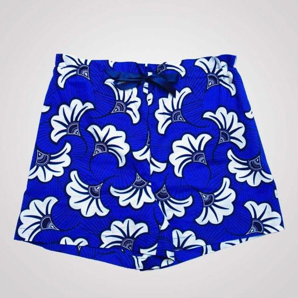 short de pyjama avec poches wax curly nights flora blue