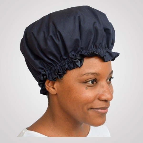 bonnet de nuit satin bleu marine uni curly nights