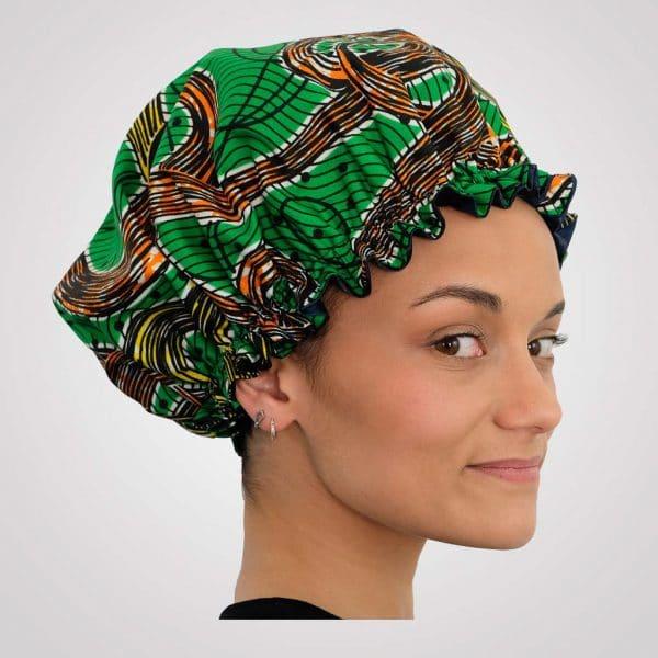 bonnet élastique de nuit satin wax curly nights TOURBILLON vert