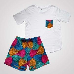 pyjama t-shirt short en wax été curly nights poches ARLEQUIN