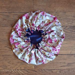 bonnet élastique intérieur satin curly nights bouquet vintage