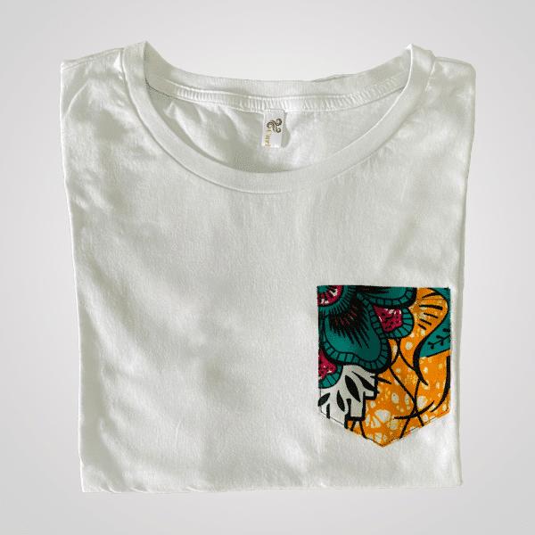 t shirt blanc coton poche wax foret