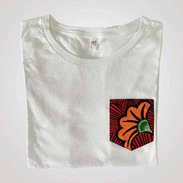 t shirt blanc coton poche wax tropico