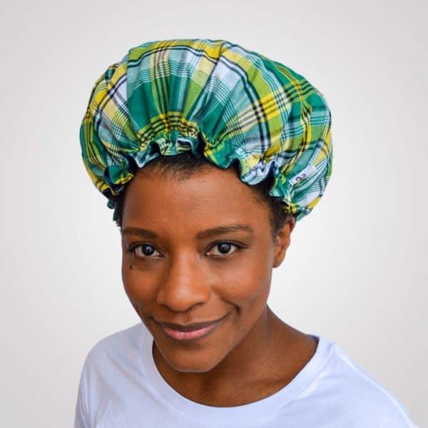 bonnet satin nuit élastique curly nights cheveux bouclés crépus protection madras vert