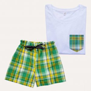 Pyjama Short T-Shirt Madras Vert Coton Curly Nights