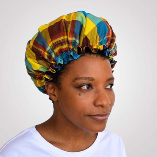 bonnet satin nuit élastique curly nights cheveux bouclés crépus protection madras bleu