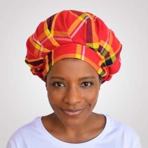 bonnet satin nuit réglable curly nights cheveux bouclés crépus protection madras rouge