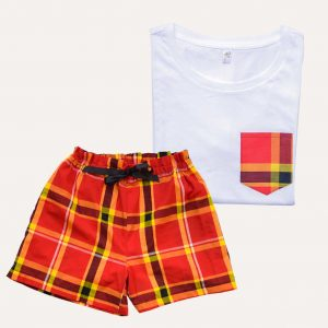 Pyjama Short T-Shirt Madras Rouge Coton Curly Nights