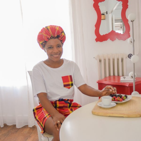 Pyjama Short T-Shirt Bonnet satin Madras Rouge Coton Curly Nights