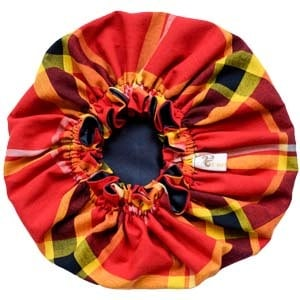 Bonnet satin enfant MADRAS ROUGE