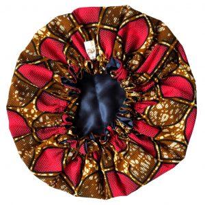 bonnet satin wax nuit élastique curly nights cheveux bouclés crépus PINK CHOCOLATE