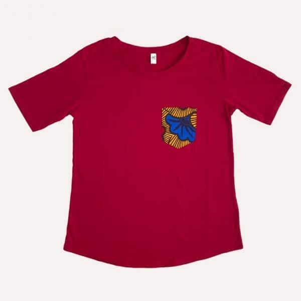 t-shirt de pyjama rouge curly nights poche en wax HONEYMOON