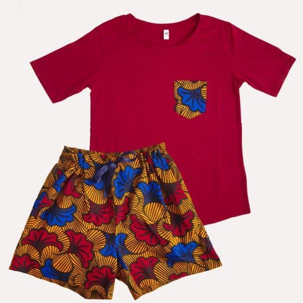 pyjama tshirt short curly nights poches wax coton HONEYMOON