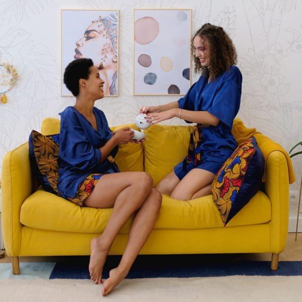 kimono schlafanzug satin dunkelblau gürtel wax